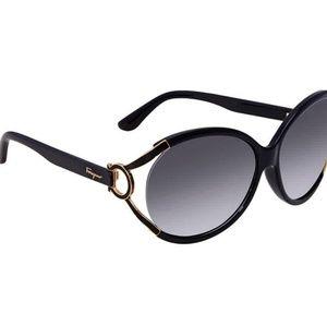 New!! Ferragamo Grey Gradient Round Sunglasses